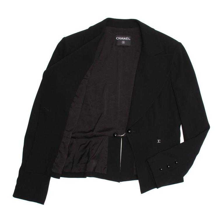 Chanel Black Wool Short Blazer with Peplum Detail 3