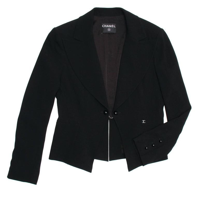 Chanel Black Wool Short Blazer with Peplum Detail 2
