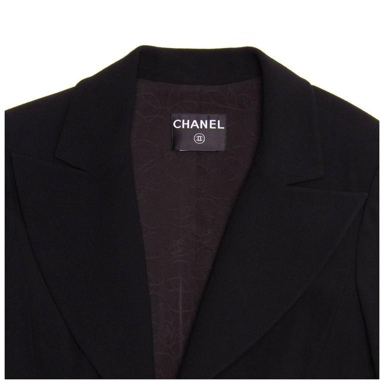 Chanel Black Wool Short Blazer with Peplum Detail 5