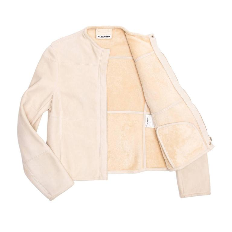 Beige Jil Sander Cream Shearling Racer Jacket For Sale