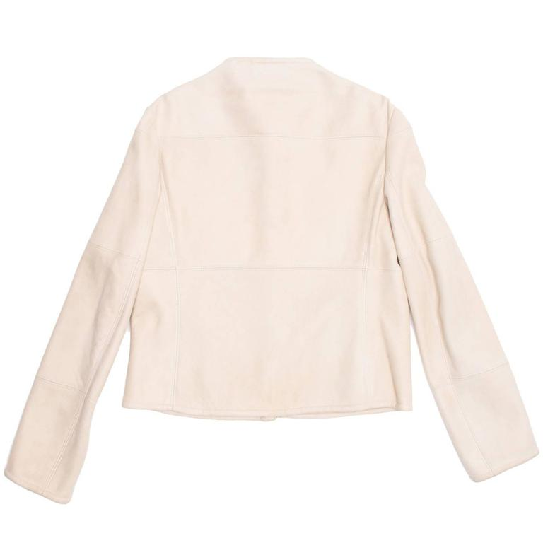 Jil Sander Cream Shearling Racer Jacket In Excellent Condition For Sale In Brooklyn, NY