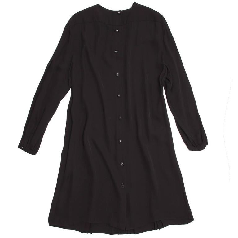 Prada Black Silk Long Sleeve Dress In New Condition For Sale In Brooklyn, NY