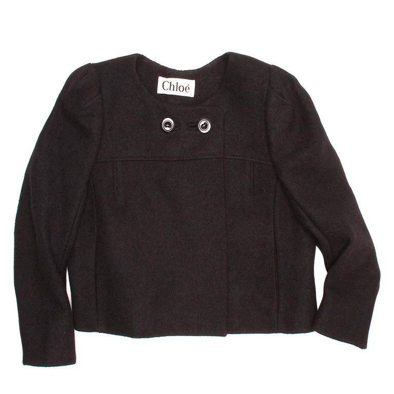 Chloe' Black Wool Cropped Blazer 2