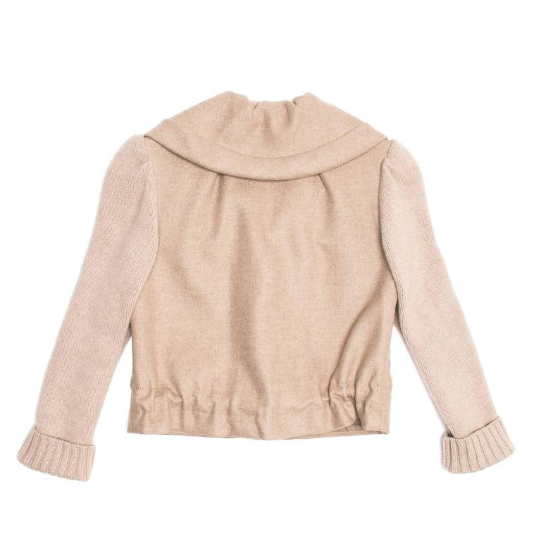Louis Vuitton Ecru Cashmere Cropped jacket In New Never_worn Condition For Sale In Brooklyn, NY