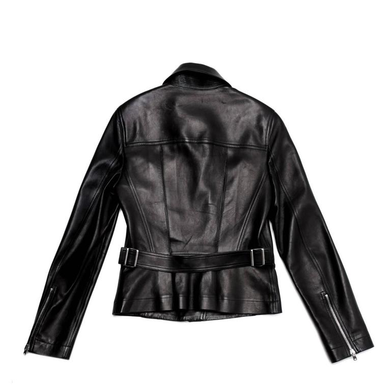 Alaia Black leather Moto Jacket In New never worn Condition For Sale In Brooklyn, NY