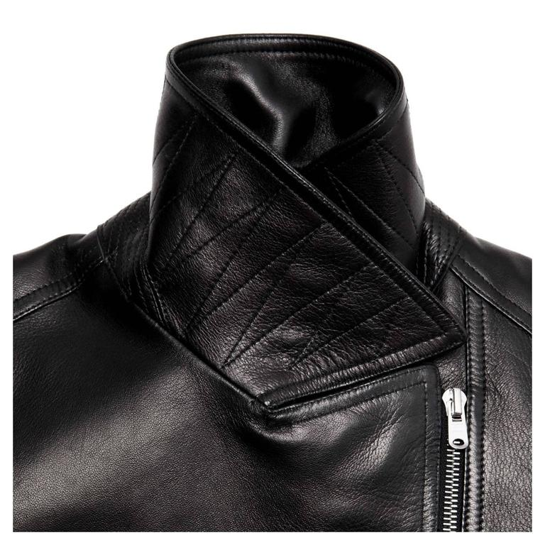 Women's Alaia Black leather Moto Jacket For Sale