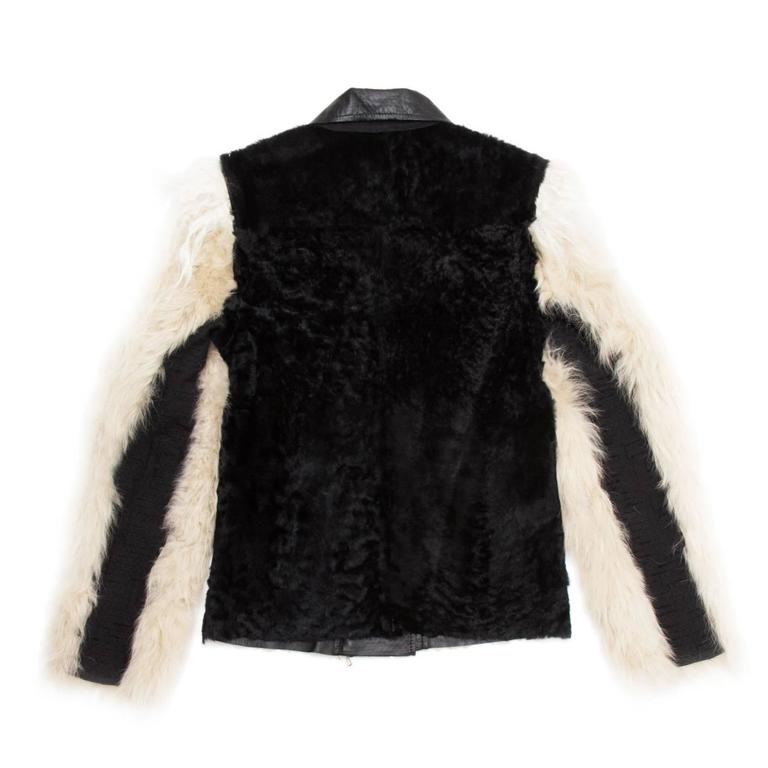 Lanvin Black & Beige Fur Jacket In New Condition For Sale In Brooklyn, NY