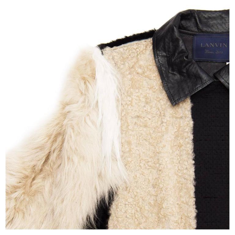 Women's Lanvin Black & Beige Fur Jacket For Sale