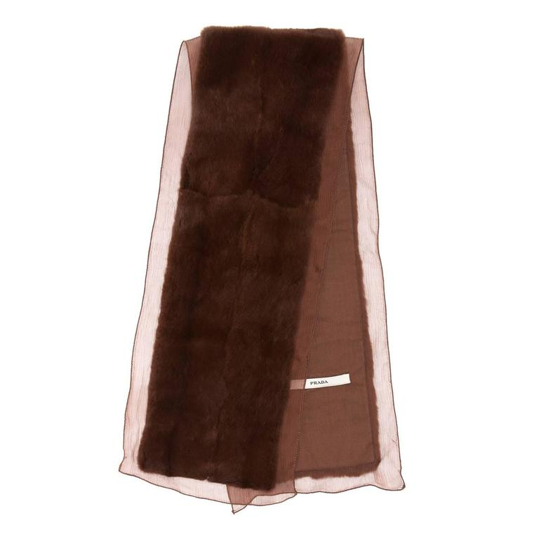 Maroon mink rabbit scarf with crinkle silk chiffon profiles to be tied around the neck once.  Size  L 36