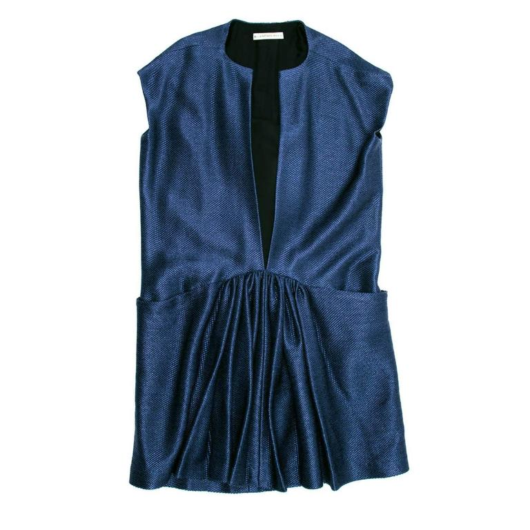 Balenciaga Blue Woven Drop Waist Dress 2