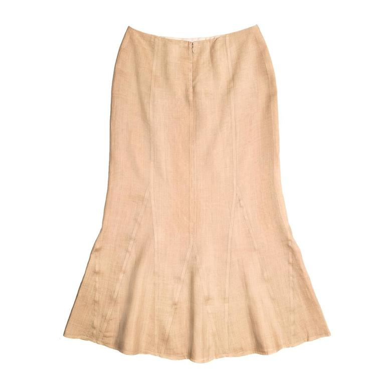 Beige Chanel Tan Ramie Trumpet Style Skirt For Sale