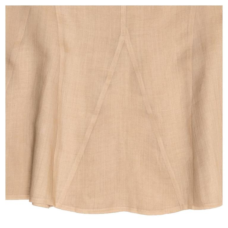 Chanel Tan Ramie Trumpet Style Skirt For Sale 1