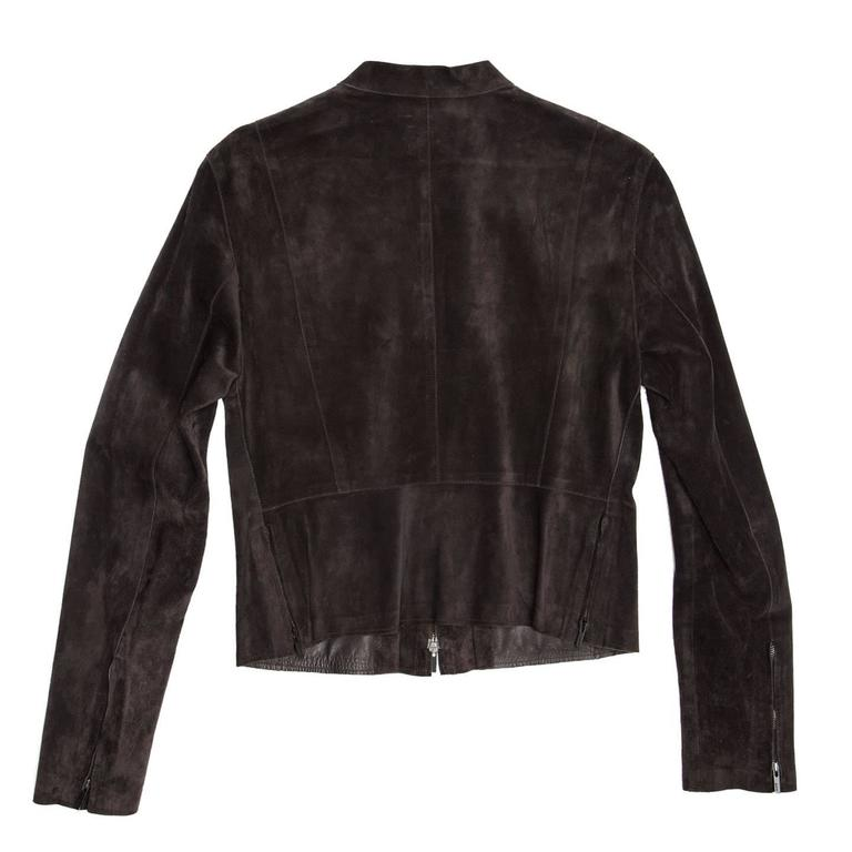 Black Gucci Brown Suede Cropped Jacket For Sale