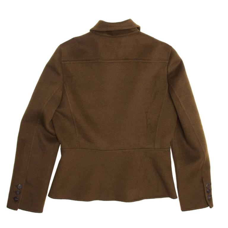 40a01e00e14 Prada Olive Angora Military Jacket For Sale at 1stdibs
