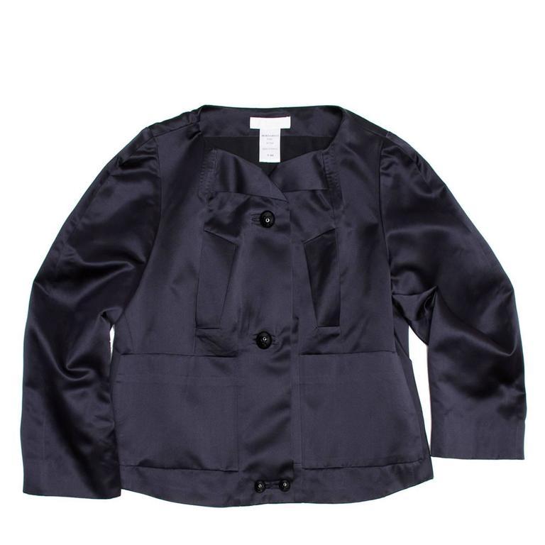 Chloe' Navy Silk Satin Jacket 2