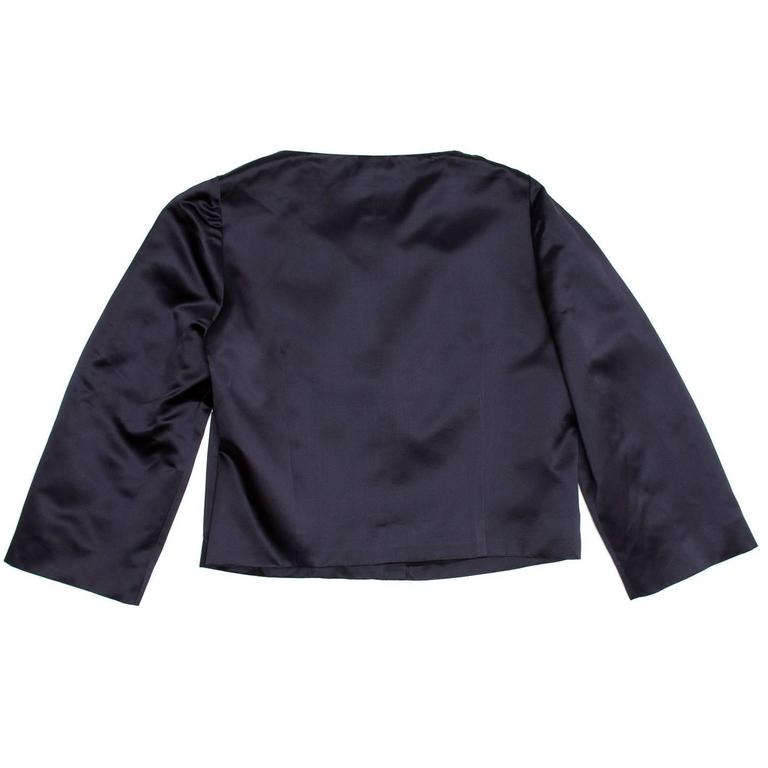 Chloe' Navy Silk Satin Jacket 3