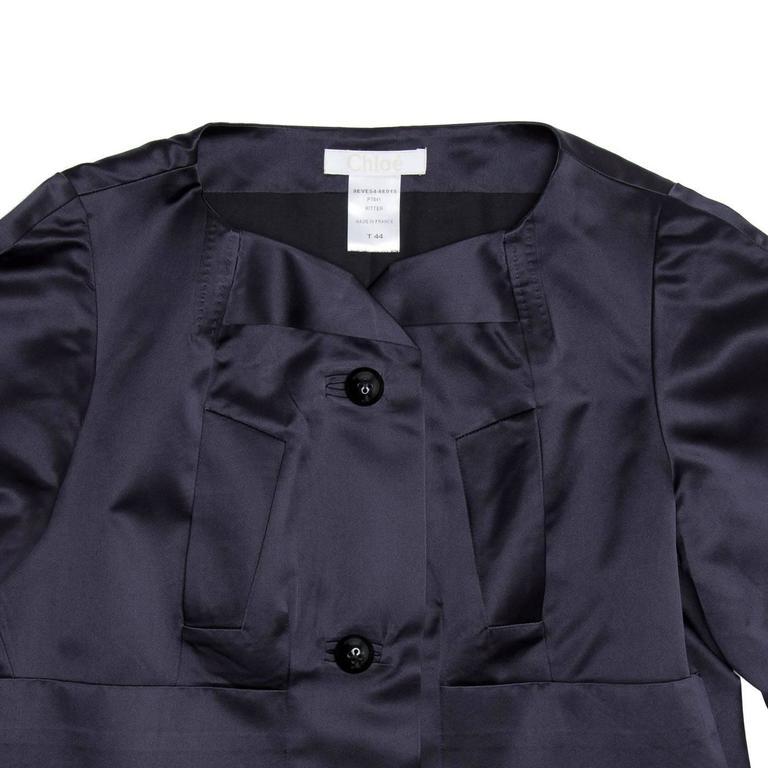 Chloe' Navy Silk Satin Jacket 5