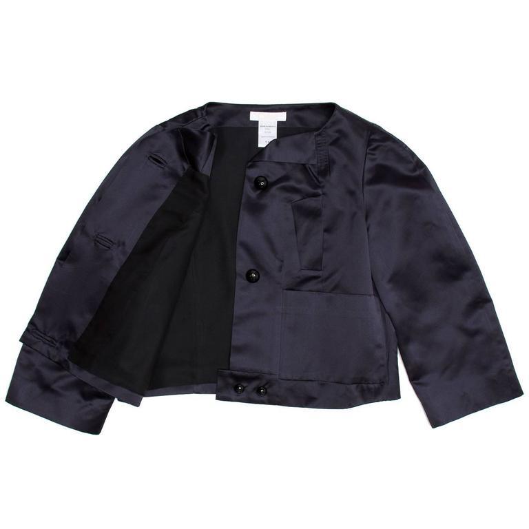 Chloe' Navy Silk Satin Jacket 4