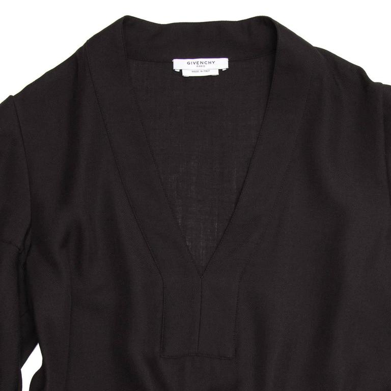 Givenchy Black Wool Pleated Dress 4