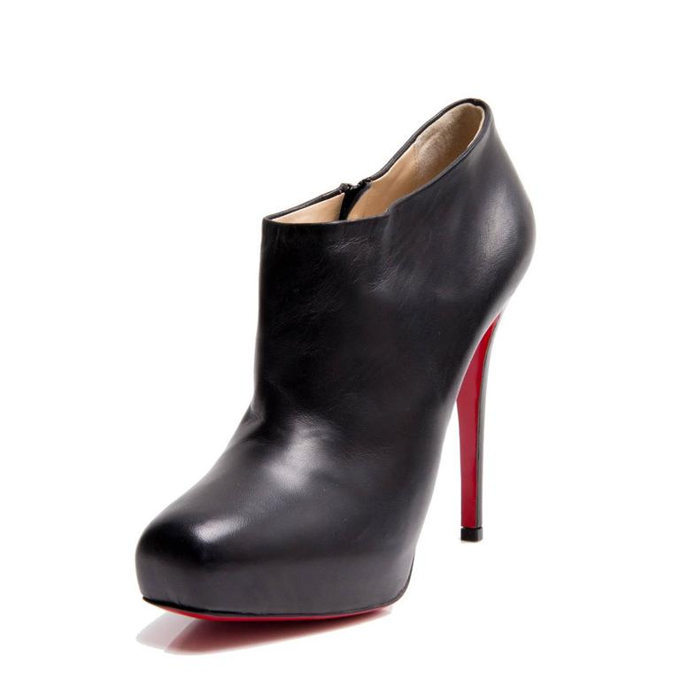 reputable site 74e3f bf230 Christian Louboutin Black Leather Ankle Boots