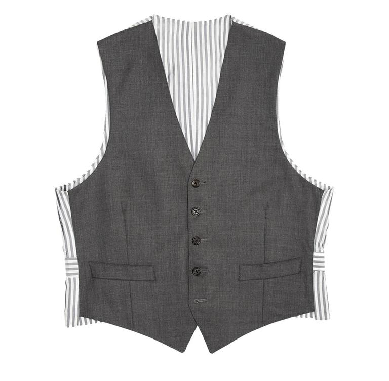 Fall 2008 heather grey wool vest with grey & white striped back panel and adjustable buttoned back detail. Made for Man Worn by Women. Hand made in New York.  Size  1   Condition  Excellent: worn a few times