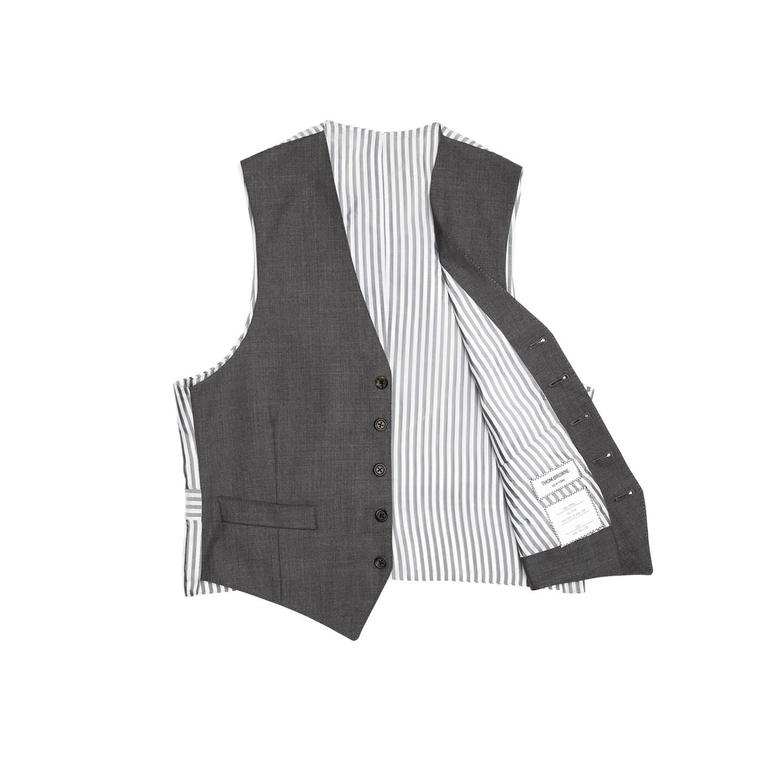 Thom Browne Heather Grey Wool Vest In Excellent Condition For Sale In Brooklyn, NY
