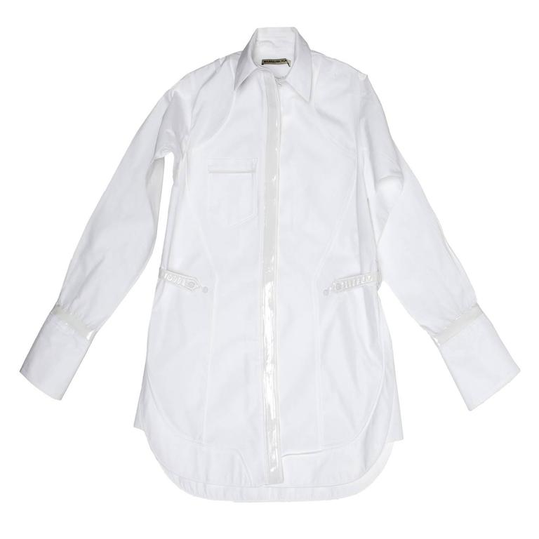 Balenciaga White Cotton & Leather Shirt 2
