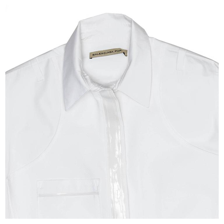 Balenciaga White Cotton & Leather Shirt 4