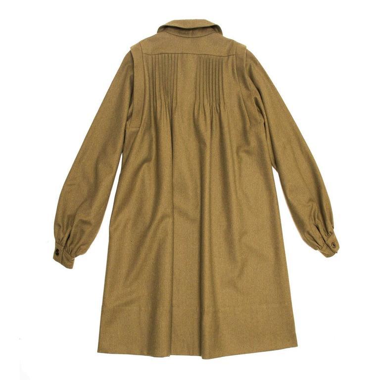 Brown Chloe' Army Green Wool Shirt Dress For Sale