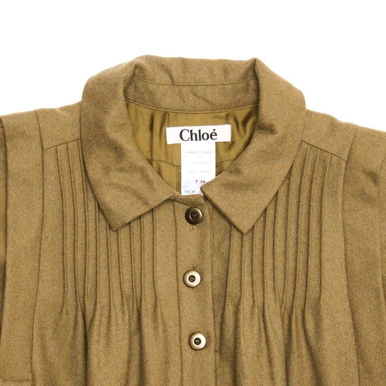 Chloe' Army Green Wool Shirt Dress In Excellent Condition For Sale In Brooklyn, NY