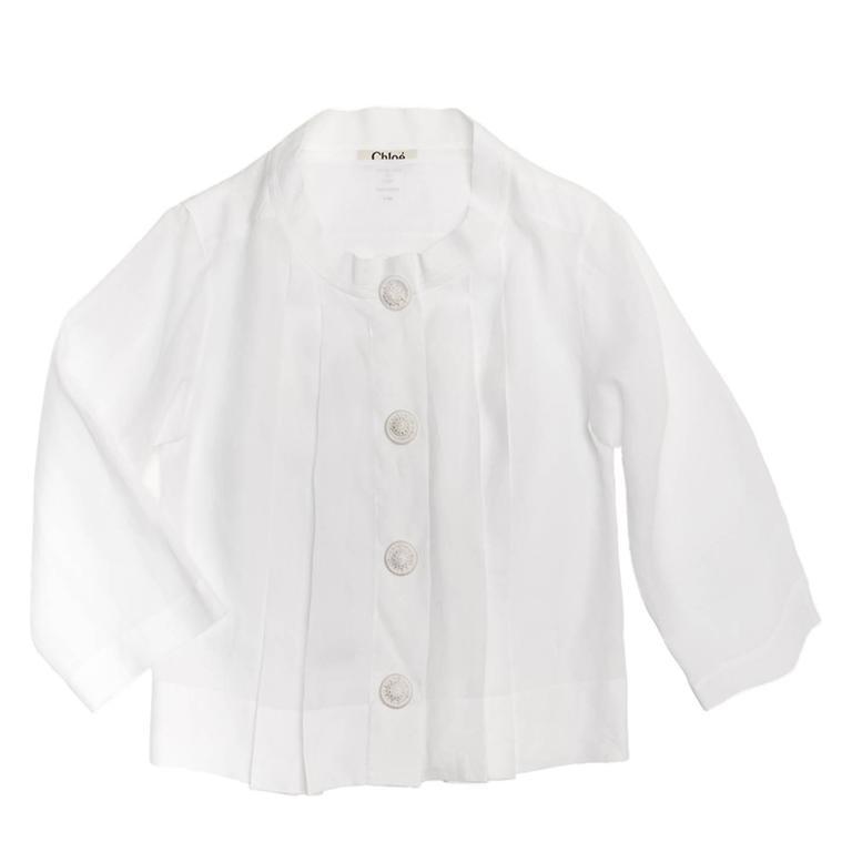 Chloe' White Linen Pleated Shirt 2
