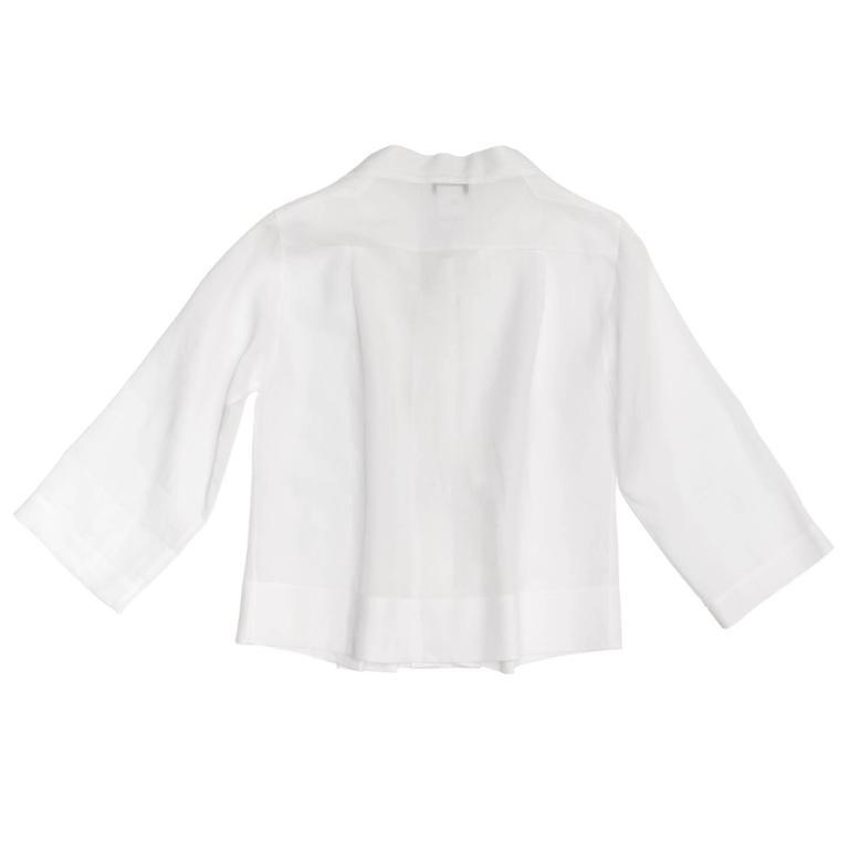 Chloe' White Linen Pleated Shirt 3