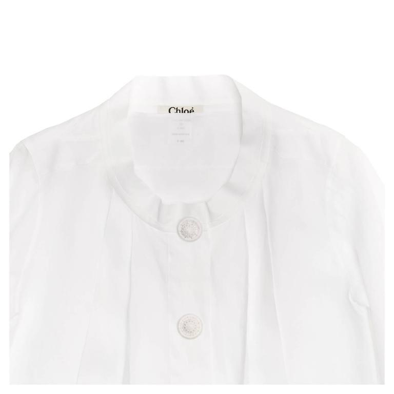 Chloe' White Linen Pleated Shirt 4