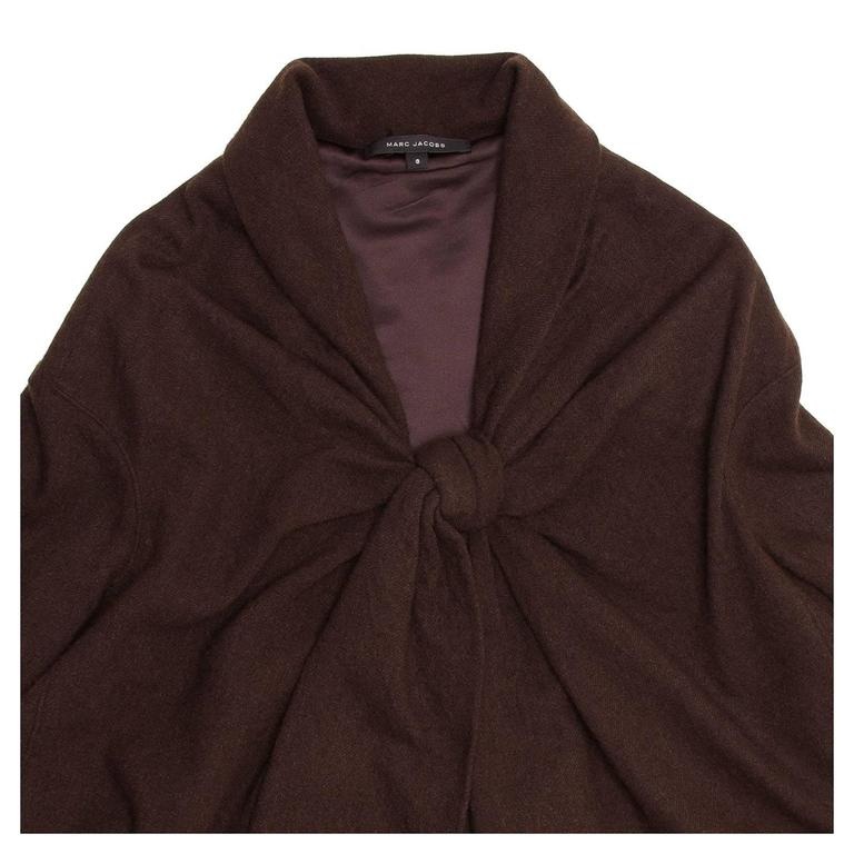 Marc Jacobs Brown Wool Tent Dress In New Condition For Sale In Brooklyn, NY