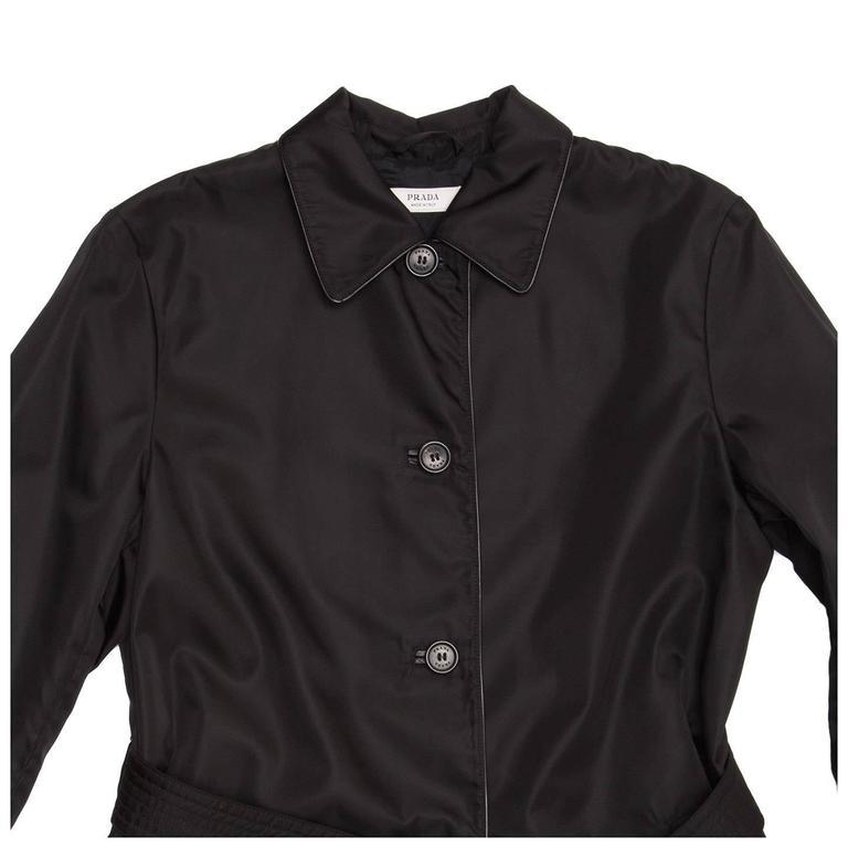 Prada Black Nylon Raincoat For Sale 1