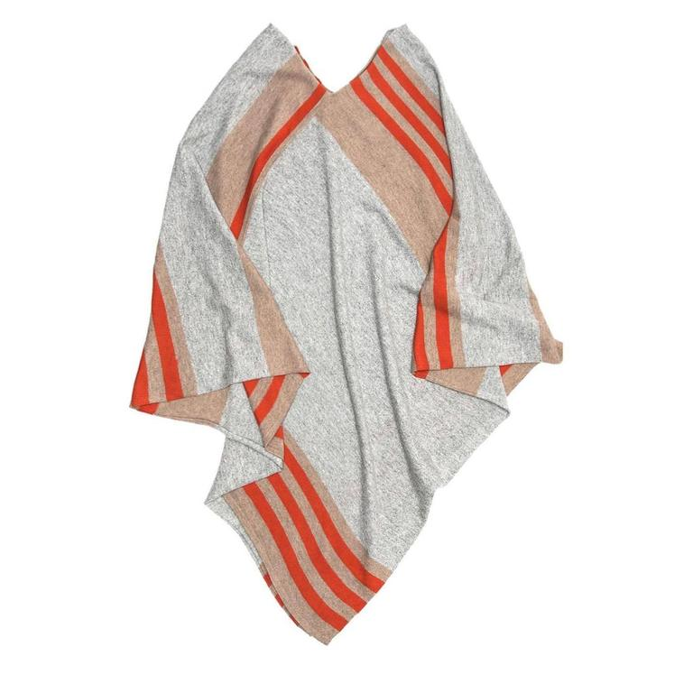Tomas Maier Khaki Orange & Grey Cashmere Poncho 2