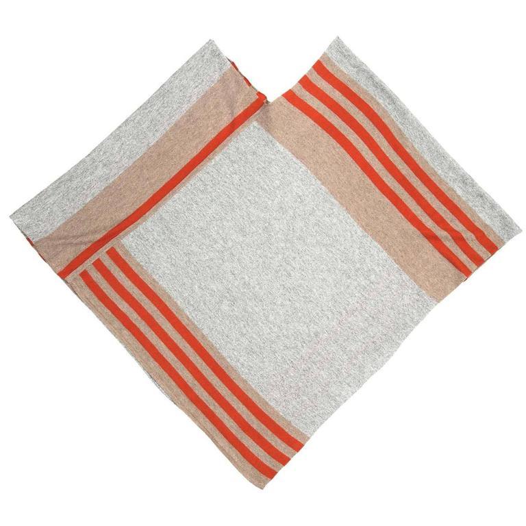 Tomas Maier Khaki Orange & Grey Cashmere Poncho 3
