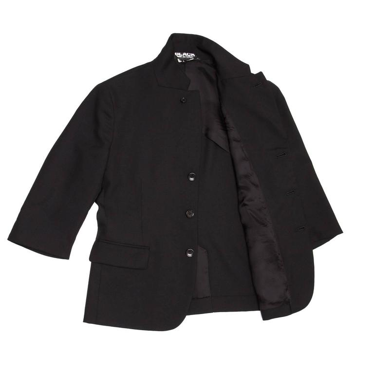 Comme des Garçons Black Wool 3/4 Sleeve Blazer In New never worn Condition For Sale In Brooklyn, NY