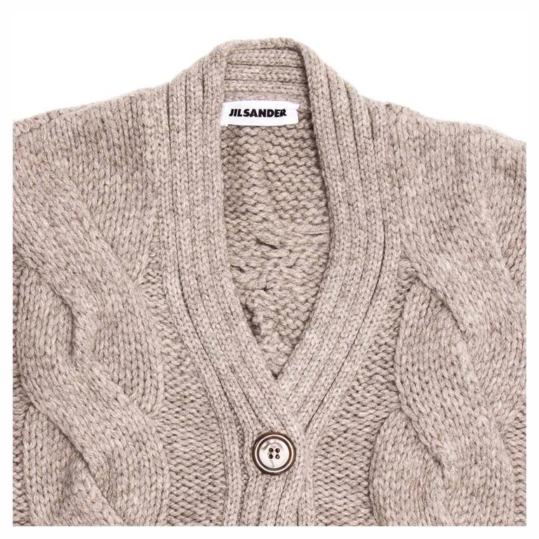 Jil Sander Taupe Cropped Cardigan In Excellent Condition For Sale In Brooklyn, NY