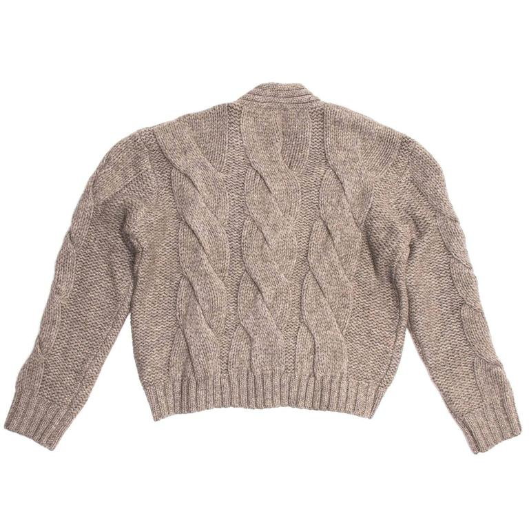 Brown Jil Sander Taupe Cropped Cardigan For Sale