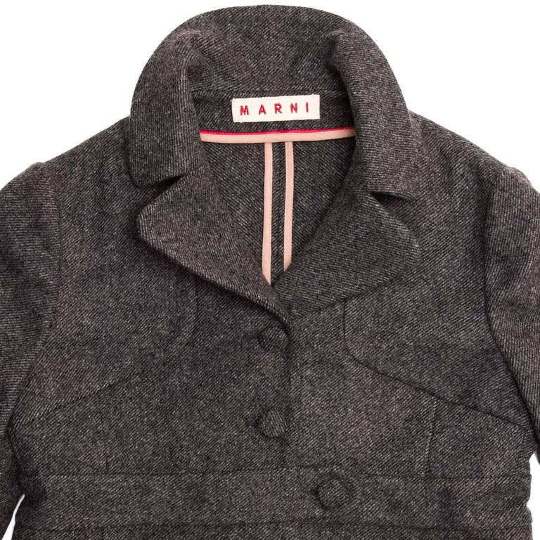 Women's Marni Grey Wool Buttoned Jacket For Sale