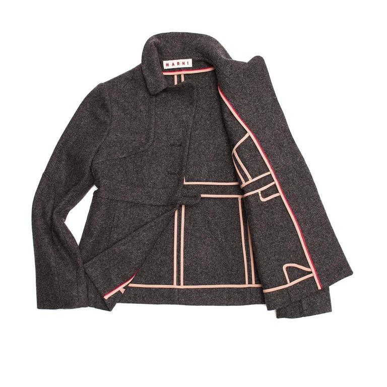 Black Marni Grey Wool Buttoned Jacket For Sale