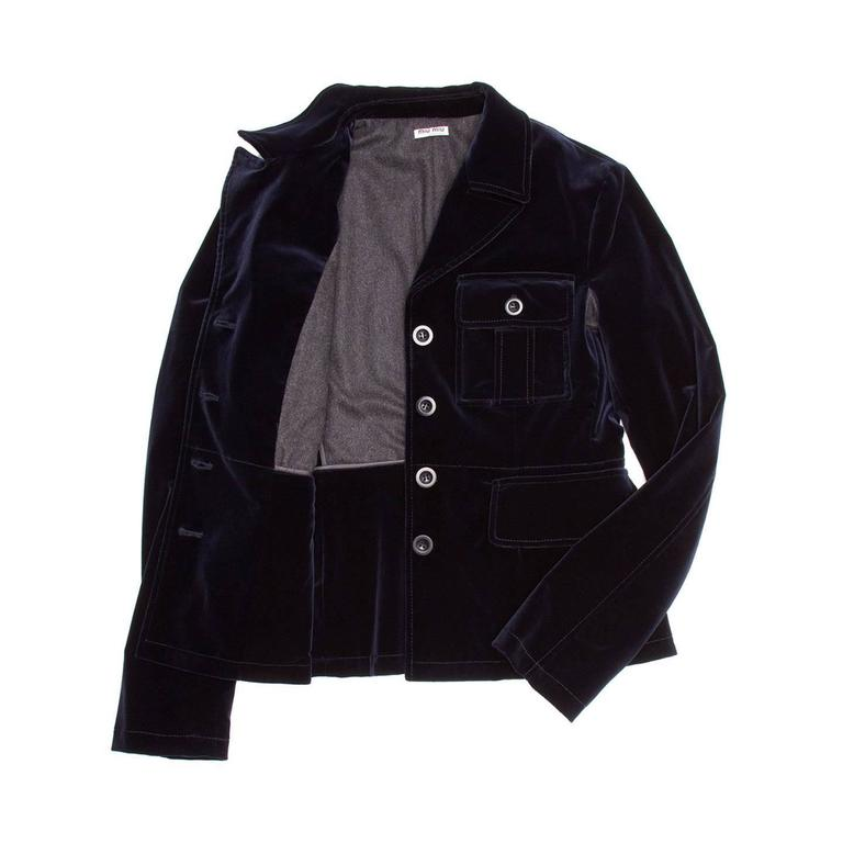 Black Miu Miu Midnight Blue Velvet Jacket For Sale