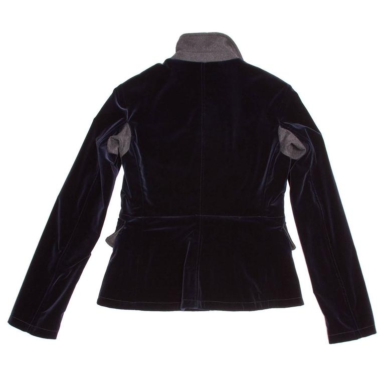 Miu Miu Midnight Blue Velvet Jacket In New Never_worn Condition For Sale In Brooklyn, NY