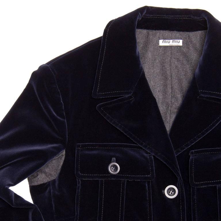 Women's Miu Miu Midnight Blue Velvet Jacket For Sale