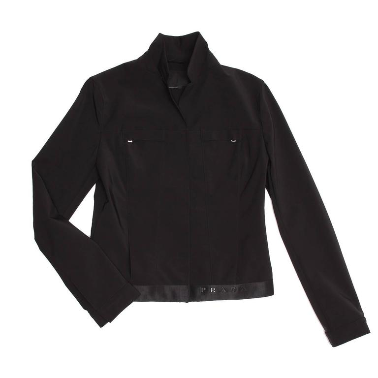 Prada Black Poly Nylon Jacket In Excellent Condition For Sale In Brooklyn, NY