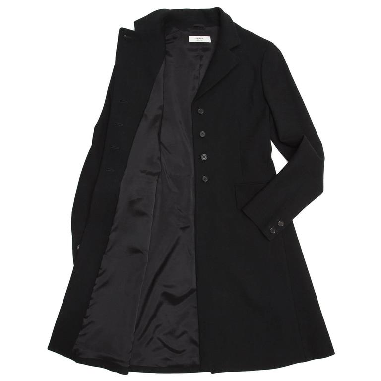 Prada Black Wool Riding Style Coat In Excellent Condition For Sale In Brooklyn, NY