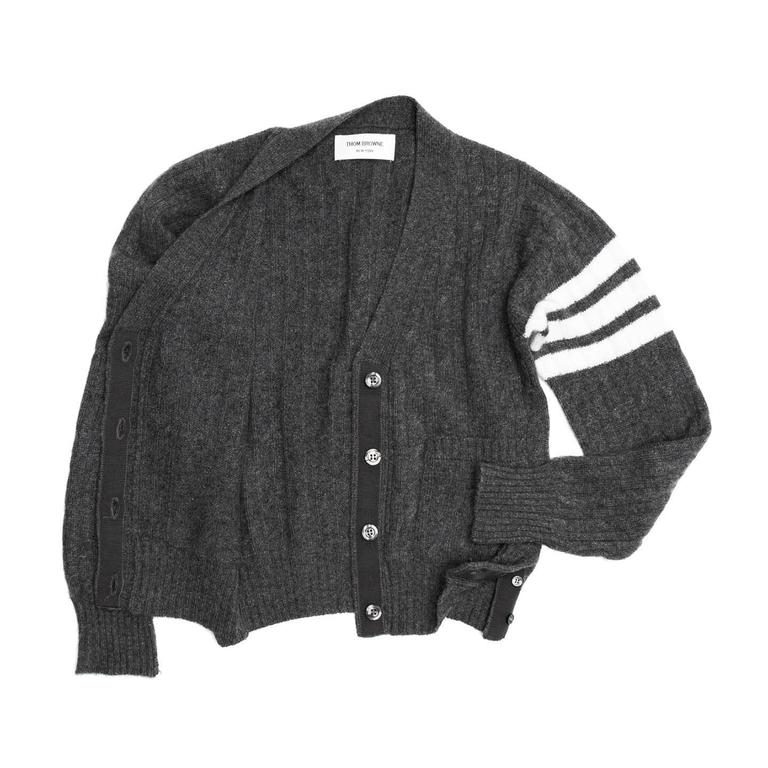 Thom Browne Dark Grey Cashmere Cardigan For Sale at 1stdibs