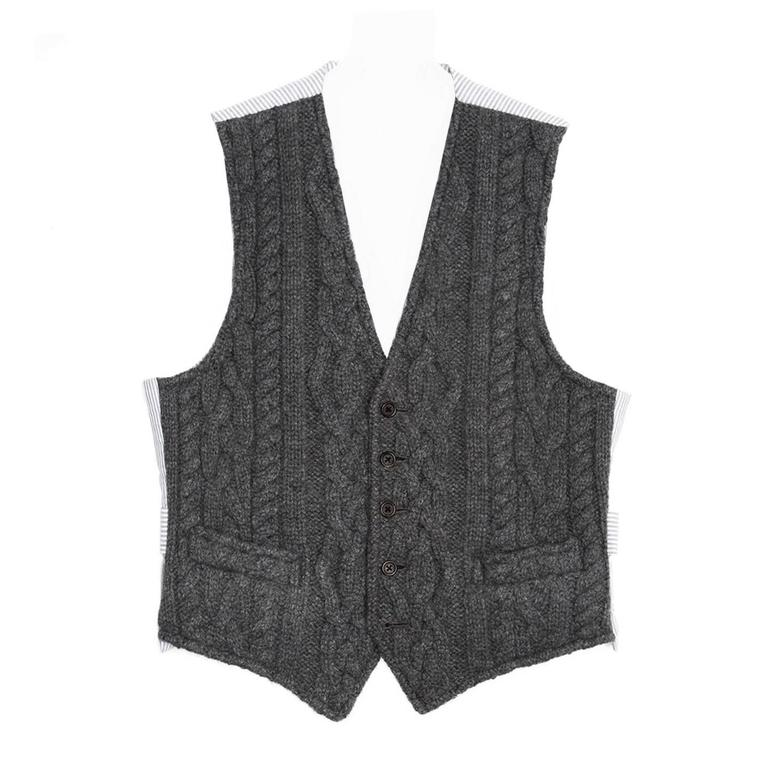 Thom Browne Dark Grey Knit Cashmere Vest