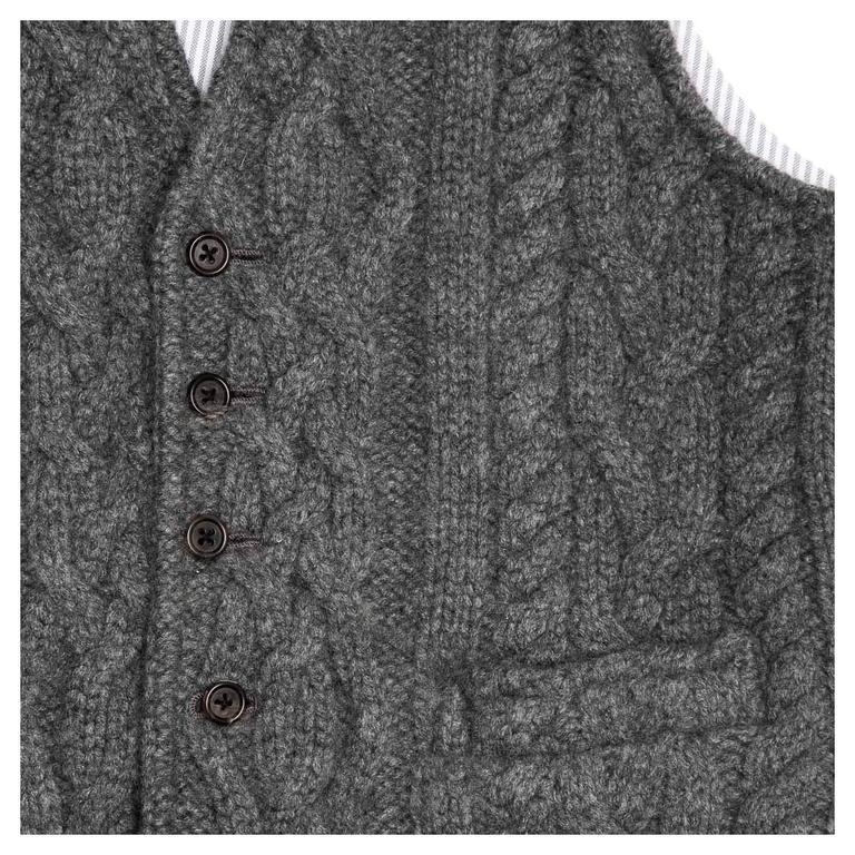 Women's Thom Browne Dark Grey Knit Cashmere Vest For Sale